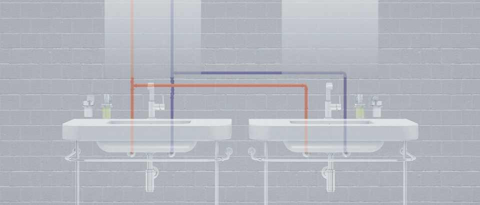 Two wash basins with one-hole basin mixer