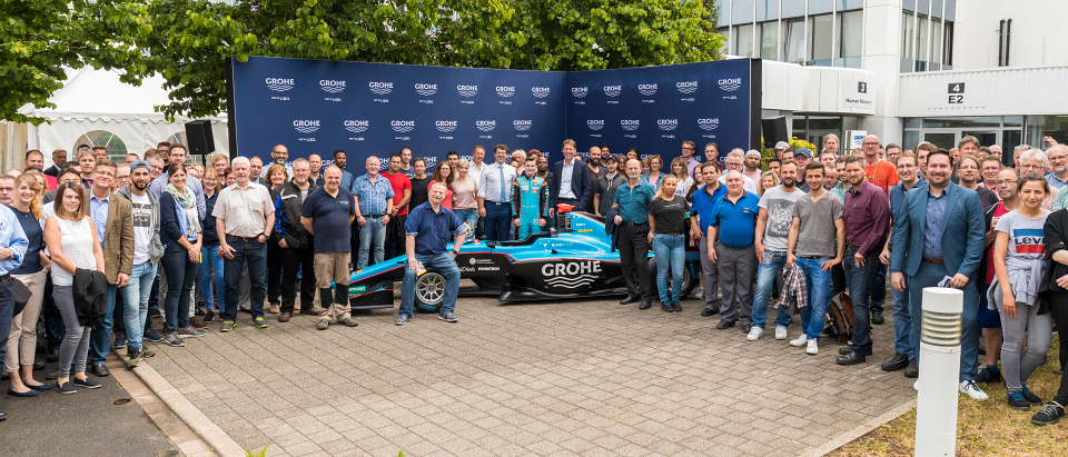 Race Driver David Beckmann Makes Pit Stop at Sponsor GROHE in Hemer
