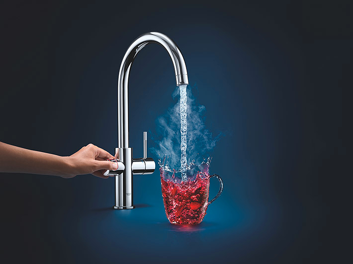Grohe 100 Degrees Celsius Hot Water 100 Per Cent Safe And Easy To Operate Grohe Red Provides Boiling Water At The Push Of A Button