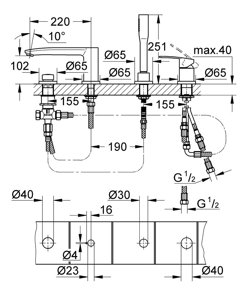 ЧертежHansgrohe Metris Classic (31314000)