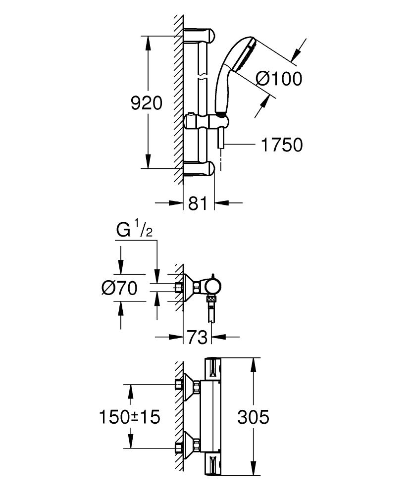 GROHE Grohtherm 800 Bateria prysznicowa z termostatem z zestawem prysznicowym 34566001