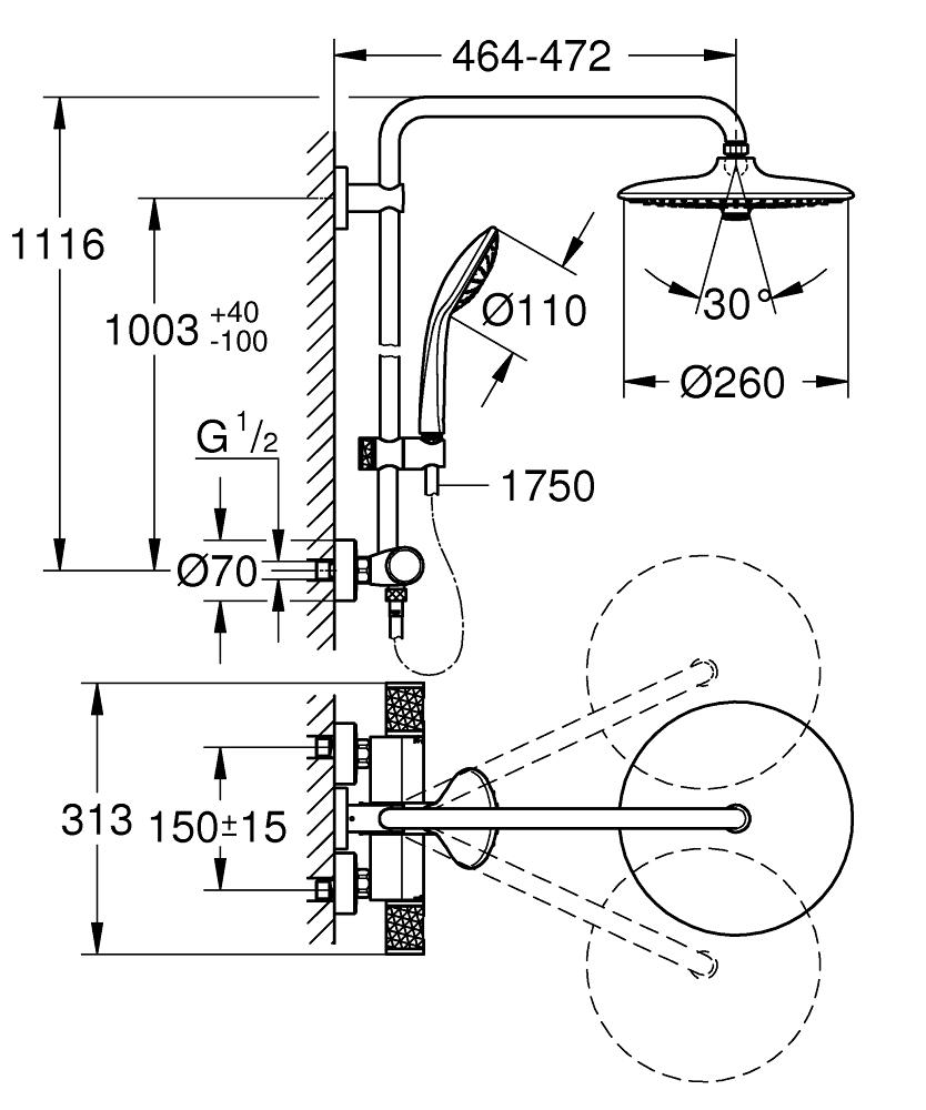 GROHE Euphoria System 260 System prysznicowy z termostatem 27296003 professional edition NOWOŚĆ