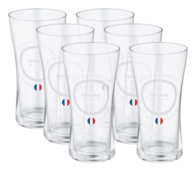 """GROHE Blue Water glasses """"Made for French water"""" with lid set"""