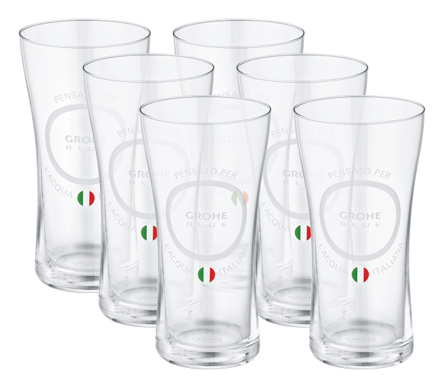 """GROHE Blue Water glasses """"Made for Italian water"""" with lid set"""
