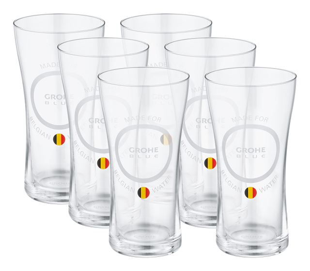 GROHE Blue Water glasses 'Made for Belgian water' (6 pieces)