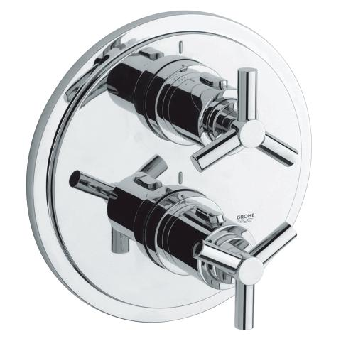Atrio Thermostat with integrated 2-way diverter for bath or shower with more than one outlet