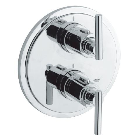 Thermostat with integrated 2-way diverter for bath or shower with more than one outlet