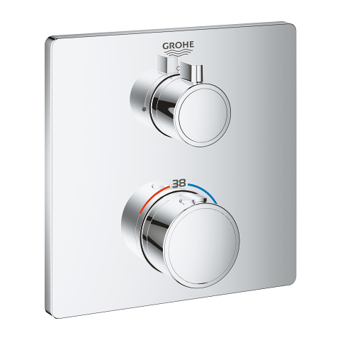 Thermostatic mixer for 1 outlet with shut off valve