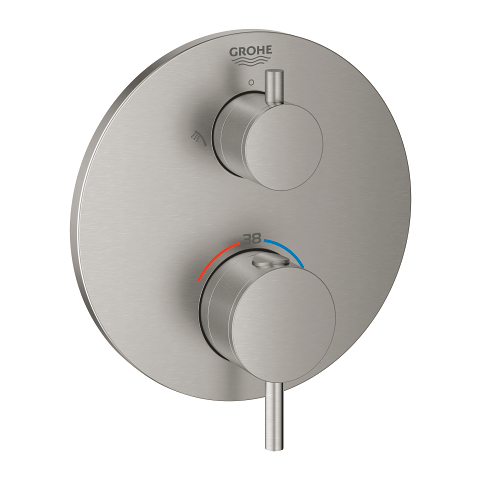 Thermostatic shower mixer for 2 outlets with integrated shut off/diverter valve