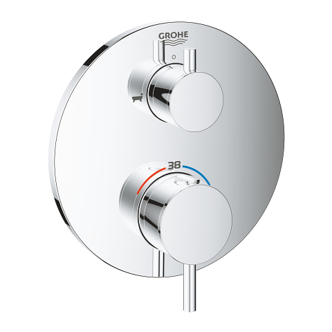 Thermostatic bath tub mixer for 2 outlets with integrated shut off/diverter valve