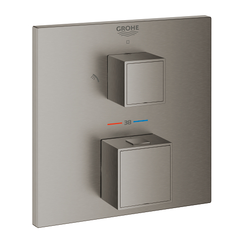 Grohtherm Cube Thermostatic mixer for 2 outlets with integrated shut off/diverter valve