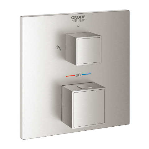 Thermostatic mixer for 2 outlets with integrated shut off/diverter valve