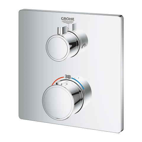 Grohtherm Thermostatic bath tub mixer for 2 outlets with integrated shut off/diverter valve