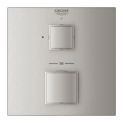 Grohtherm Cube Thermostatic mixer for 1 outlet with shut off valve
