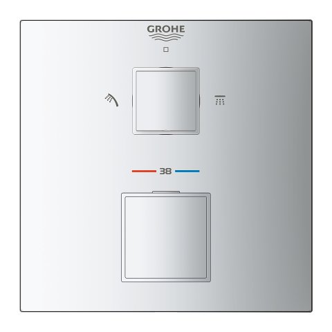 Grohtherm Cube Thermostatic shower mixer for 2 outlets with integrated shut off/diverter valve
