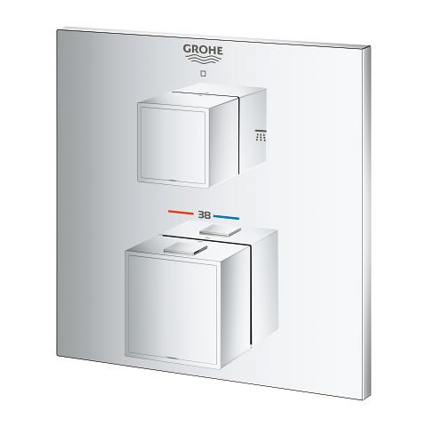 Grohtherm Cube Safety shower mixer for 2 outlets with integrated shut off/diverter valve