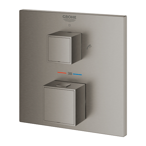 Grohtherm Cube Thermostatic bath tub mixer for 2 outlets with integrated shut off/diverter valve