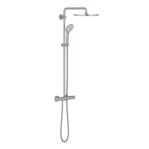 Shower system with thermostatic mixer for wall mounting
