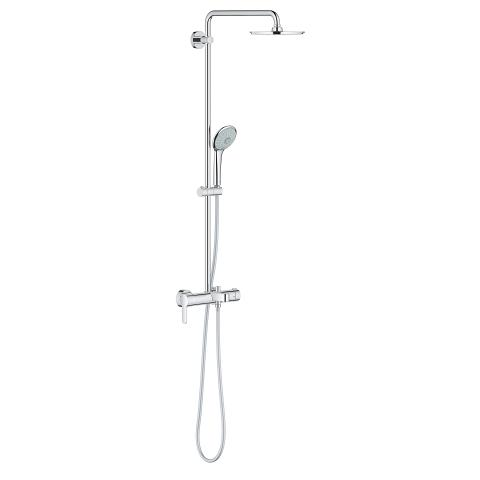 Shower system with single lever bath mixer for wall mounting