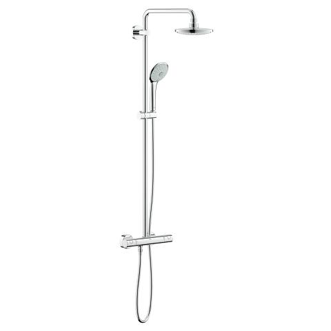 Shower system with thermostat for wall mounting