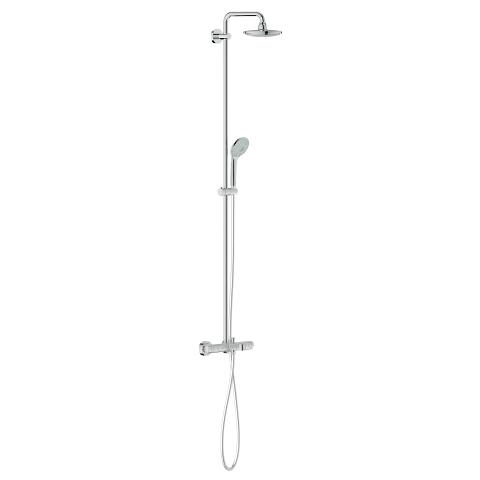 Shower system with bath thermostat for wall mounting