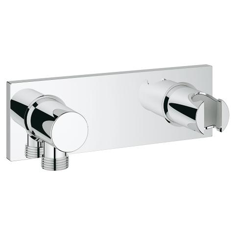 Wall shower union with integrated shower holder