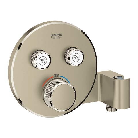 Thermostat for concealed installation with 2 valves and integrated shower holder