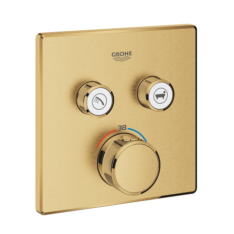 Thermostat for concealed installation with 2 valves