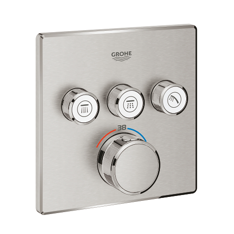 Thermostat for concealed installation with 3 valves