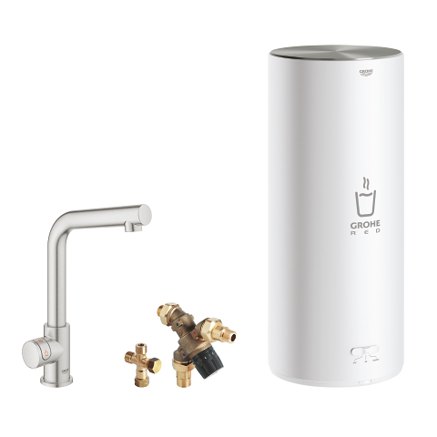 GROHE Red Mono Pillar tap and L size boiler