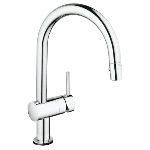 Pull-down kitchen faucet with touch technology