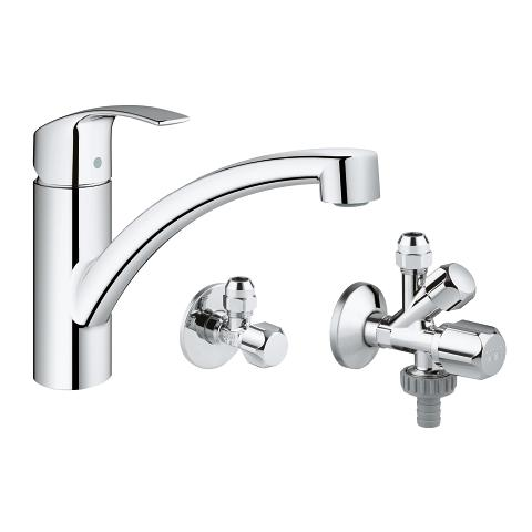 Single-lever sink mixer with angle valves, 1/2″