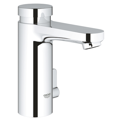 Self-closing basin mixer with mixing device and adjustable temperature limiter