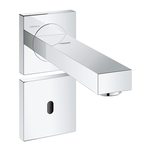 Infra-red electronic wall basin tap without mixing device