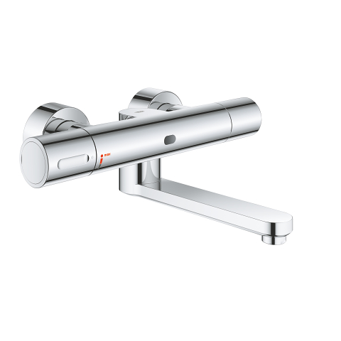 Infra-red electronic wall basin mixer with thermostatic temperature control